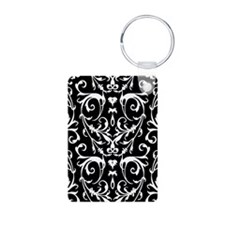 Black And White Damask Pattern Keychains