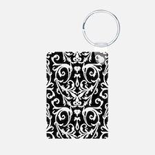 Black And White Damask Pattern Keychains