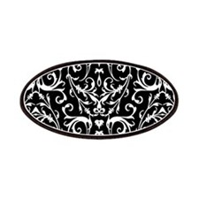 Black And White Damask Pattern Patches