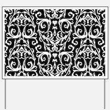 Black And White Damask Pattern Yard Sign