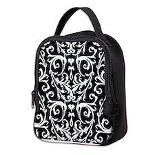 Black And White Damask Pattern Neoprene Lunch Bag