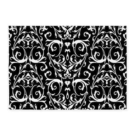 Black And White Damask Pattern 5u0027x7u0027Area Rug
