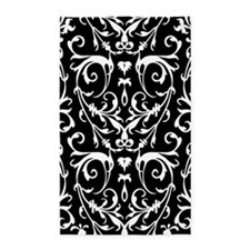 Black And White Damask Pattern 3'x5' Area Rug