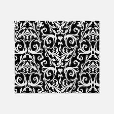 Black And White Damask Pattern Throw Blanket