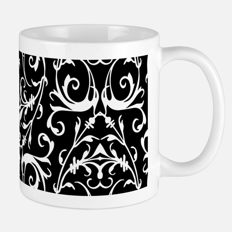 Black And White Damask Pattern Mugs