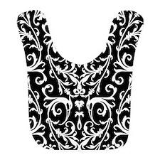 Black And White Damask Pattern Bib