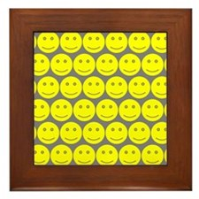 Yellow And Grey Smiley Faces Framed Tile