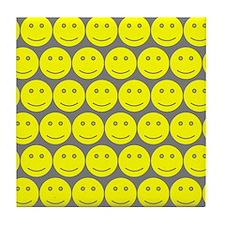 Yellow And Grey Smiley Faces Tile Coaster