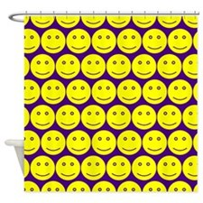 Yellow And Purple Smiley Faces Shower Curtain