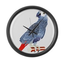 African Grey Parrot copy Large Wall Clock