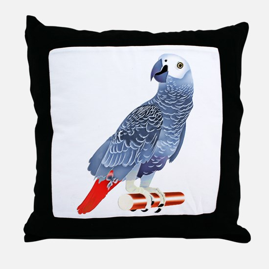 African Grey Parrot copy Throw Pillow