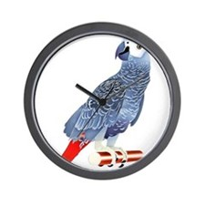 African Grey Parrot copy Wall Clock