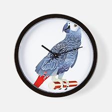 African Grey Parrot copy Wall Clock