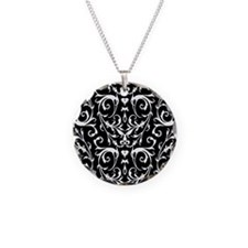 Black And White Damask Pattern Necklace