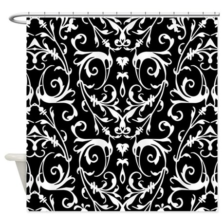 Black And White Damask Pattern Shower Curtain By
