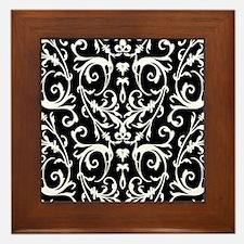 Black And White Damask Pattern Framed Tile