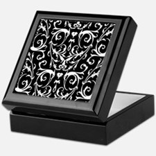 Black And White Damask Pattern Keepsake Box