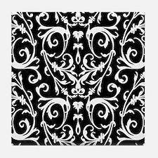 Black And White Damask Pattern Tile Coaster