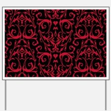 Black And Red Damask Pattern Yard Sign