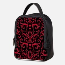 Black And Red Damask Pattern Neoprene Lunch Bag