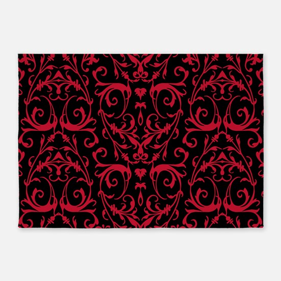Black And Red Damask Pattern 5'x7'Area Rug