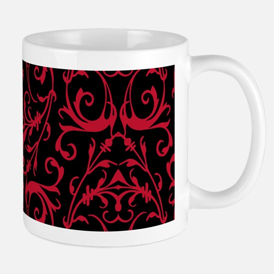 Black And Red Damask Pattern Mugs