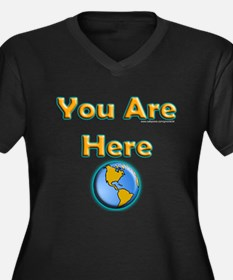 You Are Here Women's Plus Size V-Neck Dark T-Shirt