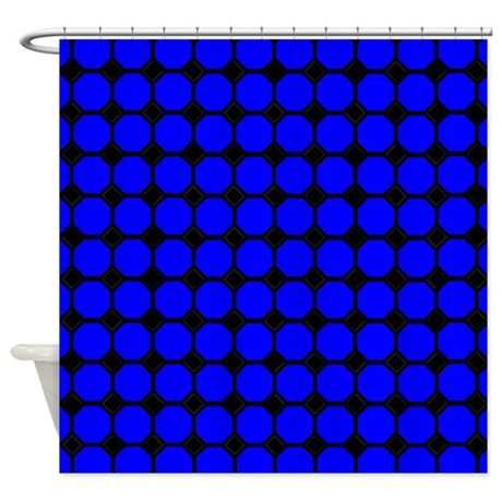 Blue And Black Tiles Shower Curtain By Verycute