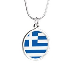 Greece Flag Silver Round Necklace