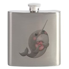 Cute Narwhal with Donut Flask