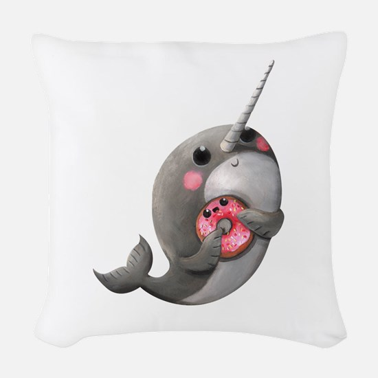 Cute Narwhal with Donut Woven Throw Pillow