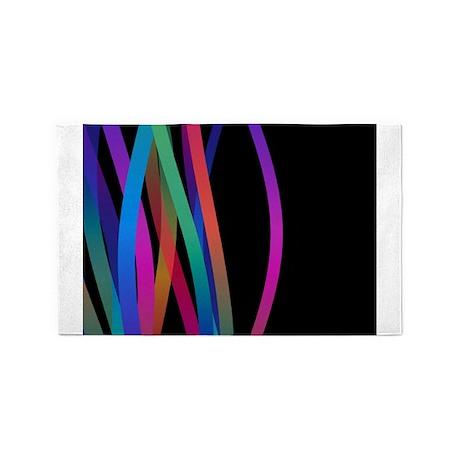 Color Waves Black 3'x5' Area Rug
