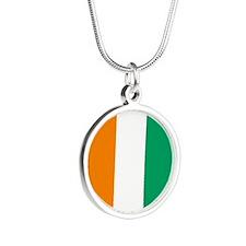 Côte d'Ivoire Flag Silver Round Necklace