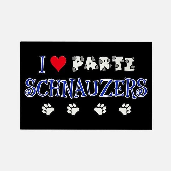 I Love Parti Schnauzers 2.0 Rectangle Magnet