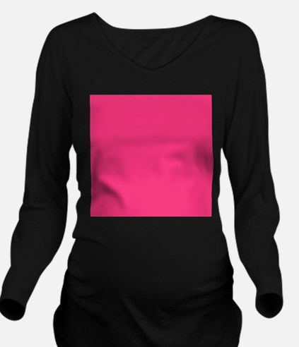 Hot Pink Solid Color Long Sleeve Maternity T-Shirt