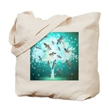 Dragonfly Glow Tree Tote Bag