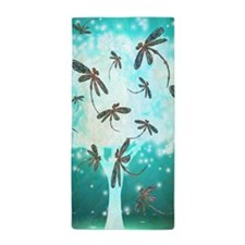 Dragonfly Glow Tree Beach Towel