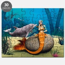 Sad Mermaid and Dolphin Puzzle