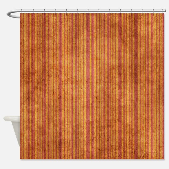 Orange And Purple Grunge Stripes Shower Curtain