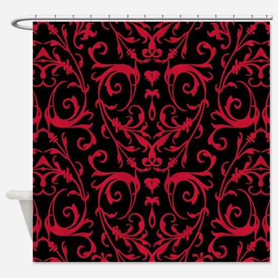 Black And Red Damask Pattern Shower Curtain