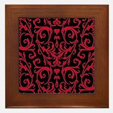 Black And Red Damask Pattern Framed Tile