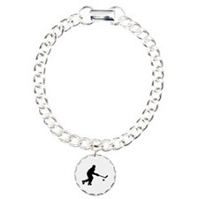 Hockey player puck Charm Bracelet, One Charm