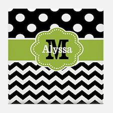 Black Green Dots Chevron Personalized Tile Coaster