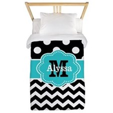 Black Teal Dots Chevron Personalized Twin Duvet