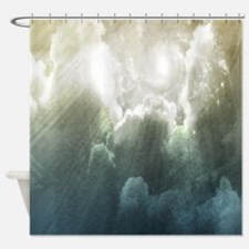 Grey Sun And Clouds Shower Curtain