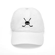 Crossed hockey sticks puck Baseball Cap