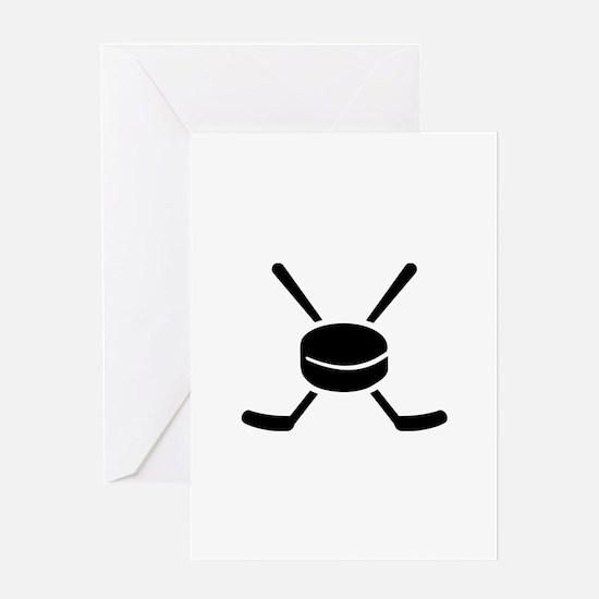 Crossed hockey sticks puck Greeting Card