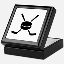 Crossed hockey sticks puck Keepsake Box