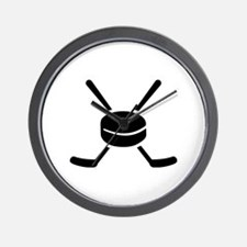 Crossed hockey sticks puck Wall Clock