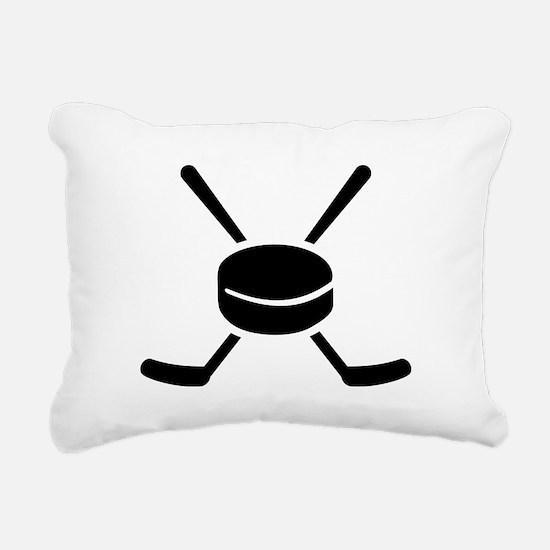 Crossed hockey sticks pu Rectangular Canvas Pillow